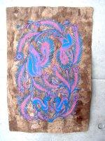 ゲレーロ アマテ 絵画 フォークアート [ブルー バンビとケツァル] ビンテージ