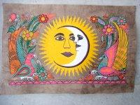 ゲレーロ アマテ 絵画 フォークアート [月と太陽] ビンテージ