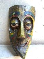 メキシコ ウッドマスク 木製の仮面  [緑の異国人]
