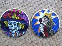 メキシカンレトロ ポサダ 死者の日 手鏡  [ハンドミラー カトリーナ&ベソ]
