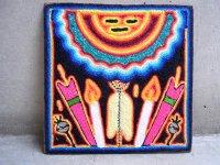 ウィチョール ネアリカ 羊毛絵 [夜の太陽] 民芸品
