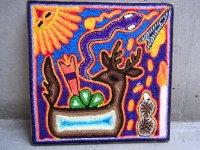 ウィチョール ネアリカ 羊毛絵 [青い鹿とペヨーテ] 民芸品