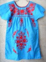 メキシコ レディース 刺繍 ワンピース  [ブルー &レッド]