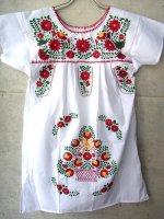 メキシコ レディース 刺繍 ワンピース  [ホワイト]