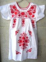 メキシコ レディース 刺繍 ワンピース  [ホワイト&レッド]