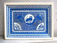 ゲレーロ 飾り皿 バテア  [オリナラ ラッカートレイ ホワイト&ブルー]
