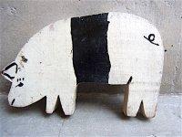 ウッドピース  壁飾り [ブタ ] ペインティング