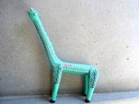 ウッドカービング 木彫り人形  [恐竜 ミントグリーン ]