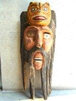 ウッドマスク 木製の仮面  [ジャガーを乗せた髭男]  ビンテージ