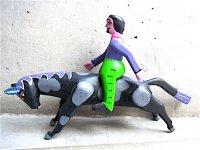 ウッドカービング 木彫り サンチアゴファミリー  [A・ペレス 男と馬のロデオ]