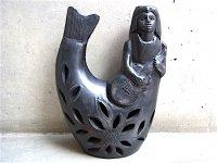 オアハカ 陶器 バロネグロ  [ギターを弾く人魚 20cm] フォークアート