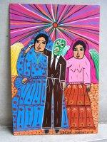 ロレンソ ファミリー メキシカンアート [ルチャドールとインディヘナ] 板絵画