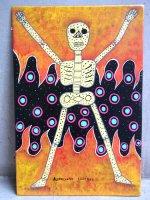 ロレンソ ファミリー メキシカンアート [燃えるカラベラ] 板絵画