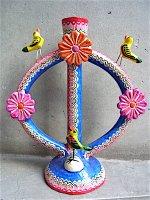 生命の樹 ツリーオブライフ 陶器 [レッド&ブルー バーズ ] イスカール