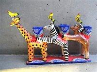 キャンドルホルダー 陶芸 [キリン,シマウマ,ヒツジ 28cm] イスカール