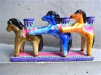 キャンドルホルダー 陶芸 [ウマのトリオ 15cm] イスカール