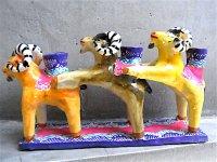 キャンドルホルダー 陶芸 [ヤギのトリオ 15cm] イスカール