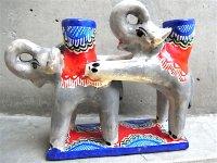 キャンドルホルダー 陶芸 [ゾウのデュオ 13cm] イスカール