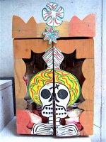 オアハカ ニチョ カラクリ玩具 [死者の日 カラベラボックス] フォークアート