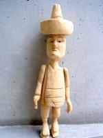 ウッドカービング 木彫り [ナチュラル ソンブレロマン]  フォークアート