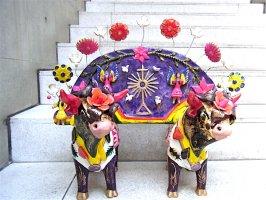 メテペック 陶芸  [ユンタ 二頭立の牛]  ビンテージ