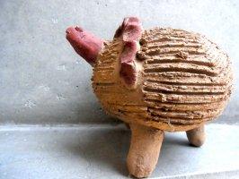 オアハカ 陶器 チア人形  [カメ 赤土] ビンテージ