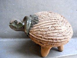 オアハカ 陶器 チア人形  [カメ 緑釉] ビンテージ