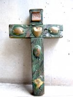 コラソン 十字架 ウッドクロス [グリーン ミラグロ]  ビンテージ