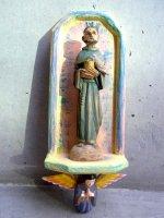 ウッドカービング 木彫りオーナメント [聖フランシスコ 天使]  インテリア