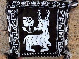ウィチョール 刺繍バッグ  [ブラウン シカ] フォークアート