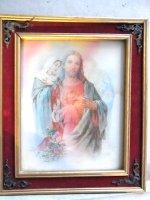 ウッドフレーム レンチキュラー 壁掛け [イエス,マリア,天使] ビンテージ