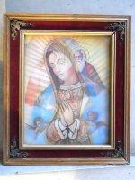 ウッドフレーム レンチキュラー 壁掛け [ グアダルーペ,天使,聖人] ビンテージ