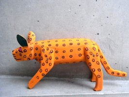 ウッドカービング 木彫り サンチアゴファミリー  [ジャガー オレンジ 28cm] 復刻品