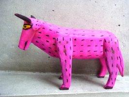 ウッドカービング 木彫り サンチアゴファミリー  [ウシ ピンク 25cm] 復刻品
