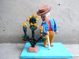 ウッドカービング 木彫り サンチアゴファミリー [オクタビアノ サボテンと老人]