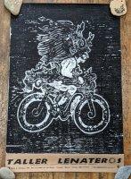 レニャテーロス工房 版画ポスター アート [バイクに乗るマヤの神] チアパス