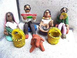 アギラールファミリー 陶人形 セット [兄弟夫婦の食事] ビンテージ