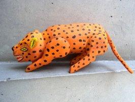 ウッドカービング 木彫り人形 オアハカ [ハイエナ オレンジ] 復刻品