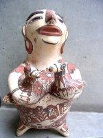 ゲレーロ オアパン 陶芸  [鳩を抱くインディヘナ]  フォークアート