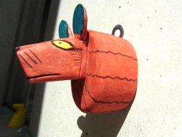 ウッドカービング 木彫り サンチアゴファミリー  [ライオンヘッド] 復刻品