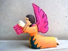 ウッドカービング 木彫り人形 オアハカ [読書する天使] 復刻品