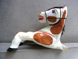 メキシコ パペルマチェ 張り子 [ウマ 茶色模様] 玩具