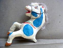 メキシコ パペルマチェ 張り子 [ウマ 水色模様] 玩具