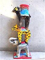 キャンドルホルダー 陶芸 ピラミッド [ゾウ,チーター,ガゼルその2 26cm]
