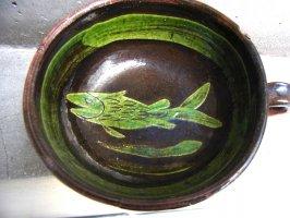 パタンバン 緑釉 ティーカップ  [ワカサギ]  ビンテージ