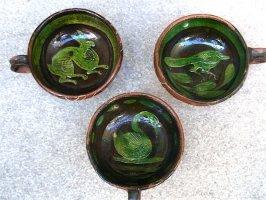 パタンバン 緑釉 ティーカップ  [ウサギ インコ 白鳥]  ビンテージ