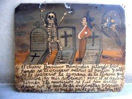 アート エクスボト 奉納画  [Gゴンザレス 墓場のカラベラ] ブリキ絵