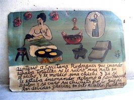 アート エクスボト 奉納画  [Gゴンザレス トルティーヤを焼く裸婦] ブリキ絵