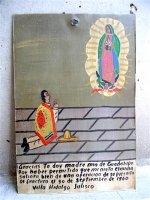 アート エクスボト 奉納画  [グアダルーペに祈る男 スモール] ブリキ絵