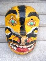 ウッドマスク 木製の仮面  [黄色い動物]  ビンテージ